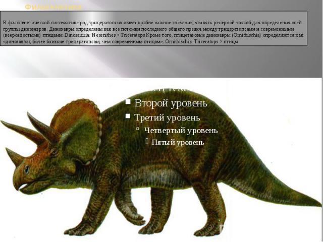ФилогенетикаВ филогенетической систематике род трицератопсов имеет крайне важное значение, являясь реперной точкой для определения всей группы динозавров. Динозавры определены как все потомки последнего общего предка между трицератопсами и современн…
