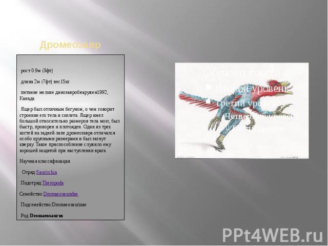 рост 0.9м(3фт)длина 2м(7фт)вес15кгпитание мелкие динозавробнаружен1992, КанадаЯщер был отличным бегуном, о чем говорит строение его тела и скелета. Ящер имел большой относительно размеров тела мозг, был быстр, проворен и плотояден. Один из тр…