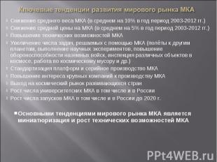 Снижение среднего веса МКА (в среднем на 10% в год период 2003-2012 гг.)Снижение