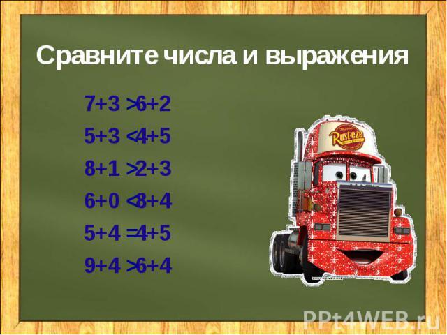 Сравните числа и выражения