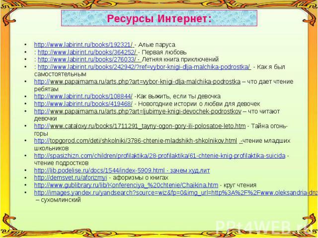 Ресурсы Интернет:http://www.labirint.ru/books/192321/ - Алые паруса: http://www.labirint.ru/books/364252/ - Первая любовь: http://www.labirint.ru/books/276033/ - Летняя книга приключений: http://www.labirint.ru/books/242942/?ref=vybor-knigi-dlja-mal…