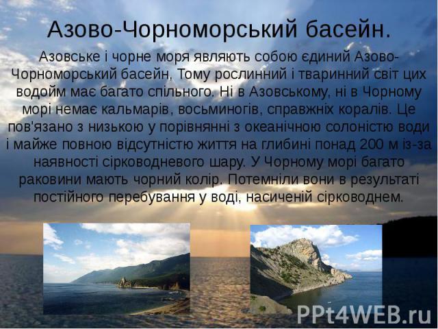 Азово-Чорноморський басейн. Азовське і чорне моря являють собою єдиний Азово-Чорноморський басейн, Тому рослинний і тваринний світ цих водойм має багато спільного. Ні в Азовському, ні в Чорному морі немає кальмарів, восьминогів, справжніх коралів. Ц…
