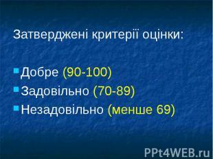 Затверджені критерії оцінки:Затверджені критерії оцінки:Добре (90-100)Задовільно