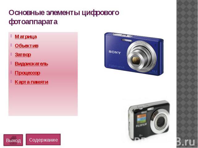 Основные элементы цифрового фотоаппаратаМатрицаОбъективЗатворВидоискательПроцессорКарта памяти