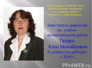 Заместитель директора по учебно-воспитательной работе Грудка Алла Михайловна В д
