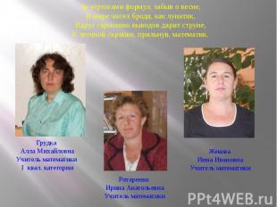 Грудка Алла МихайловнаУчитель математики I квал. категории Ротаренко Ирина Анато