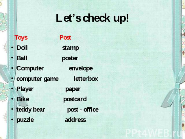 Let's check up! Toys PostDoll stamp Ball posterComputer envelopecomputer game letterboxPlayer paperBike postcardteddy bear post - officepuzzle address