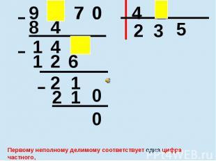 Первому неполному делимому соответствует одна цифра частного, а всем остальным ц