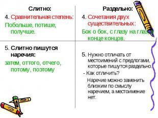 Слитно:Слитно:4. Сравнительная степень:Побольше, потише, получше.5. Слитно пишут