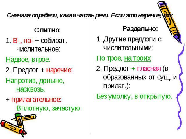 Сначала определи, какая часть речи. Если это наречие, то:Слитно:1. В-, на- + собират. числительное:Надвое, втрое.2. Предлог + наречие:Напротив, доныне, насквозь.+ прилагательное: Вплотную, зачастую