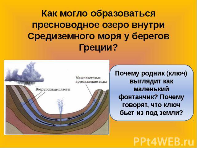 Как могло образоваться пресноводное озеро внутри Средиземного моря у берегов Греции?Почему родник (ключ) выглядит как маленький фонтанчик? Почему говорят, что ключ бьет из под земли?
