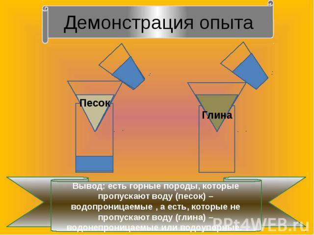 Демонстрация опытаВывод: есть горные породы, которые пропускают воду (песок) – водопроницаемые , а есть, которые не пропускают воду (глина) – водонепроницаемые или водоупорные.
