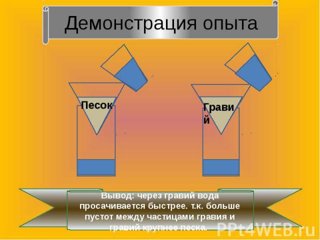 Демонстрация опытаВывод: через гравий вода просачивается быстрее. т.к. больше пустот между частицами гравия и гравий крупнее песка.