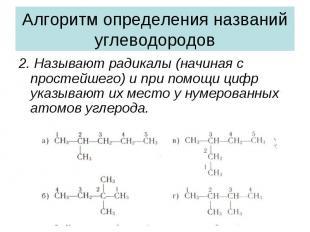 Алгоритм определения названий углеводородов2. Называют радикалы (начиная с прост