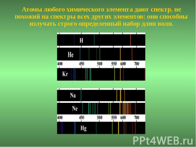 Атомы любого химического элемента дают спектр, не похожий на спектры всех других элементов: они способны излучать строго определенный набор длин волн.