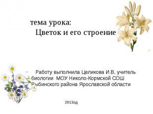 тема урока: Цветок и его строение Работу выполнила Целикова И.В. учитель биологи