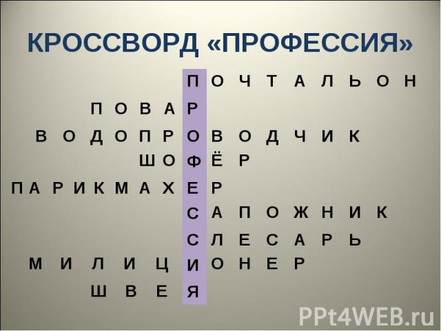 КРОССВОРД «ПРОФЕССИЯ»