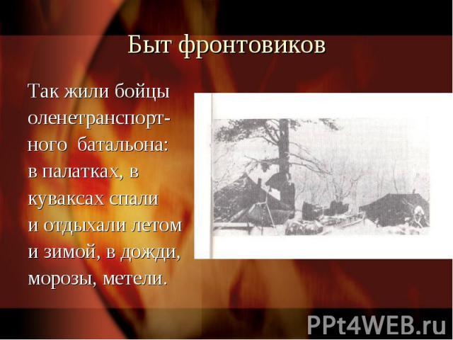 Быт фронтовиковТак жили бойцы оленетранспорт-ного батальона:в палатках, в куваксах спалии отдыхали летоми зимой, в дожди, морозы, метели.