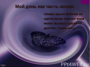 Мой день как часть жизни.«Взмах крыла бабочки на одном конце земного шара может