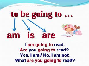 to be going to …am is areI am going to read.Are you going to read? Yes, I am./ N