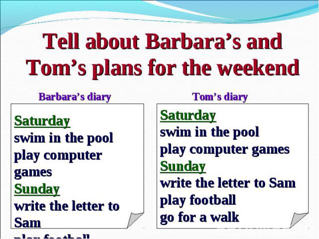 Tell about Barbara's and Tom's plans for the weekendSaturdayswim in the poolplay computer gamesSundaywrite the letter to Samplay football go for a walkSaturdayswim in the poolplay computer gamesSundaywrite the letter to Samplay football go for a walk