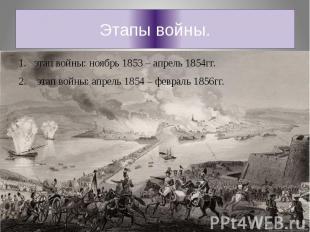 Этапы войны.этап войны: ноябрь 1853 – апрель 1854гг. этап войны: апрель 1854 – ф
