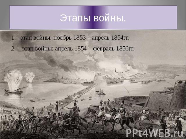 Этапы войны.этап войны: ноябрь 1853 – апрель 1854гг. этап войны: апрель 1854 – февраль 1856гг.