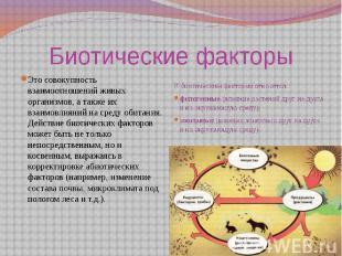 Это совокупность взаимоотношений живых организмов, а также их взаимовлияний на с