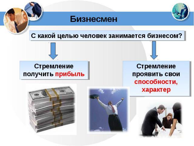 С какой целью человек занимается бизнесом?Стремление получить прибыльСтремление проявить свои способности, характер