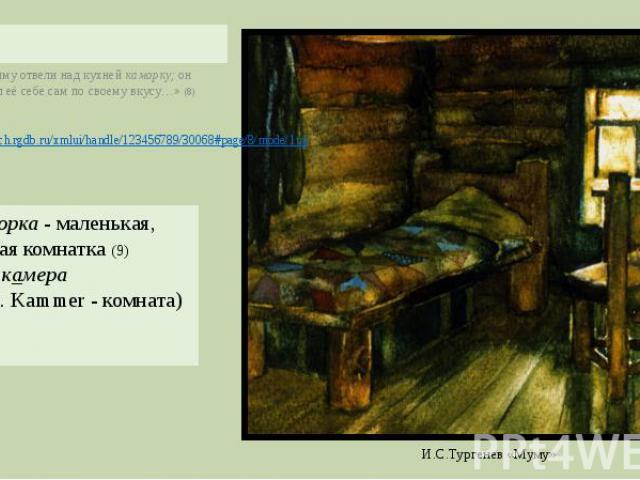 «Герасиму отвели над кухней каморку; он устроил её себе сам по своему вкусу…» (8)Каморка - маленькая, тесная комнатка (9)син. камера (нем. Kammer - комната)