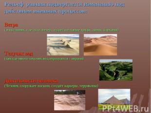 Рельеф равнин подвергается изменению под действием внешних процессов:Ветра ( в п