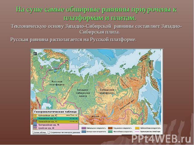 На суше самые обширные равнины приурочены к платформам и плитам.Тектоническую основу Западно-Сибирской равнины составляет Западно-Сибирская плита.Русская равнина располагается на Русской платформе.