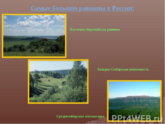 Самые большие равнины в России:Восточно-Европейская равнина Западно-Сибирская низменность Среднесибирское плоскогорье