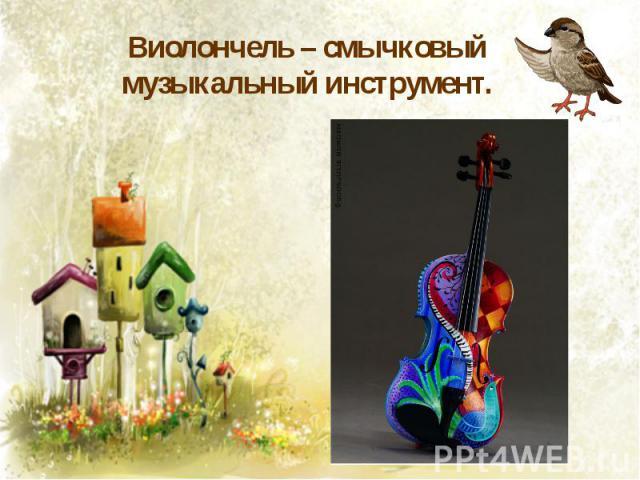 Виолончель – смычковый музыкальный инструмент.