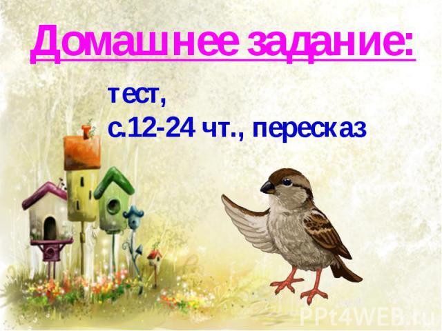 Домашнее задание:тест,с.12-24 чт., пересказ