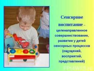 Сенсорное воспитание –целенаправленное совершенствование, развитие у детей сенсо