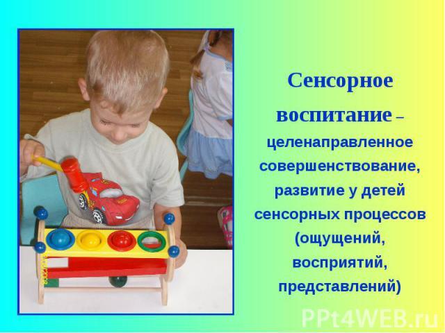 Сенсорное воспитание –целенаправленное совершенствование, развитие у детей сенсорных процессов (ощущений, восприятий, представлений)