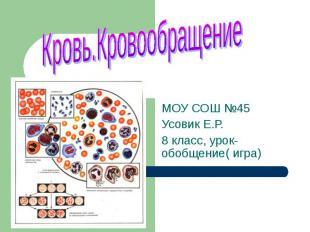 Кровь.Кровообращение МОУ СОШ №45 Усовик Е.Р.8 класс, урок- обобщение( игра)
