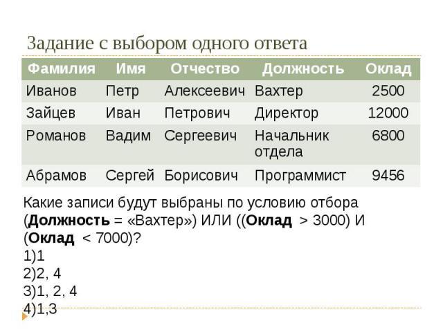 Задание с выбором одного ответаКакие записи будут выбраны по условию отбора(Должность = «Вахтер») ИЛИ ((Оклад > 3000) И (Оклад < 7000)?12, 41, 2, 41,3