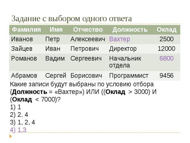 Задание с выбором одного ответаКакие записи будут выбраны по условию отбораДолжность = «Вахтер») ИЛИ ((Оклад > 3000) И (Оклад < 7000)? 1 2, 4 1, 2, 4 1,3