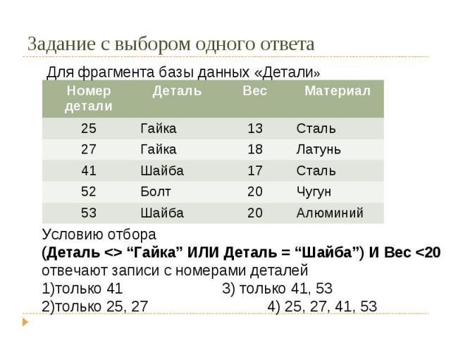 """Условию отбора(Деталь """"Гайка"""" ИЛИ Деталь = """"Шайба"""") И Вес"""