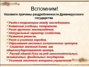 Вспомним!Назовите причины раздробленности Древнерусского государстваРаздел терри