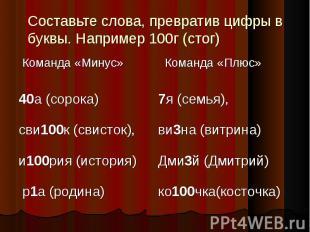 Составьте слова, превратив цифры в буквы. Например 100г (стог)
