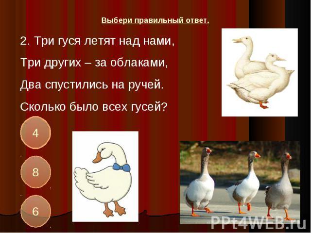 2. Три гуся летят над нами,Три других – за облаками,Два спустились на ручей.Сколько было всех гусей?