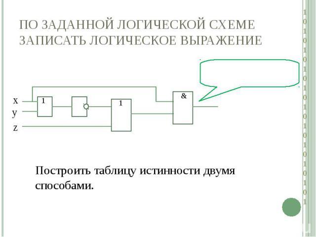 По заданной логической схеме записать логическое выражениеПостроить таблицу истинности двумя способами.