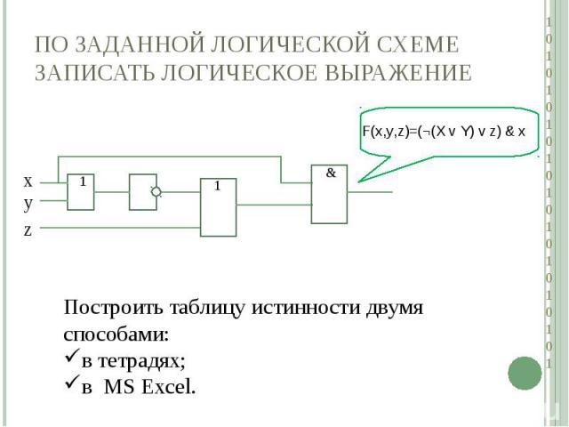 По заданной логической схеме записать логическое выражениеПостроить таблицу истинности двумя способами:в тетрадях;в MS Excel.