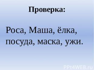 Проверка:Роса, Маша, ёлка, посуда, маска, ужи.