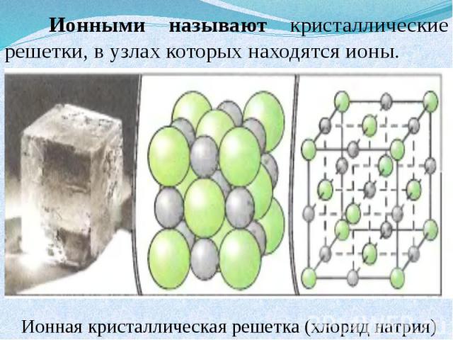 Ионными называют кристаллические решетки, в узлах которых находятся ионы. Ионная кристаллическая решетка (хлорид натрия)