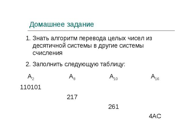 1. Знать алгоритм перевода целых чисел из десятичной системы в другие системы счисления2. Заполнить следующую таблицу: