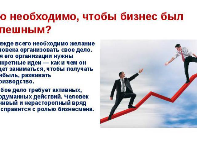 Что необходимо, чтобы бизнес был успешным?Прежде всего необходимо желание человека организовать свое дело. Для его организации нужны конкретные идеи — как и чем он будет заниматься, чтобы получать прибыль, развивать производство.Любое дело требует а…